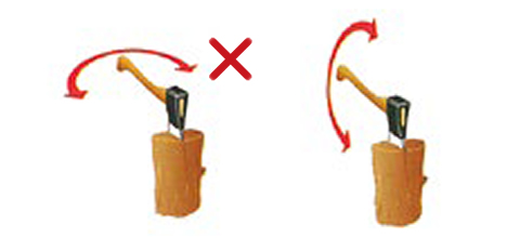 玉切りに食われた斧は垂直方向に揺すってください
